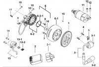 Двигатель (Запуск двигателя, магнето маховика, C.D.I.)