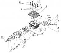 Цилиндровая группа и элементы системы впуска и выпуска